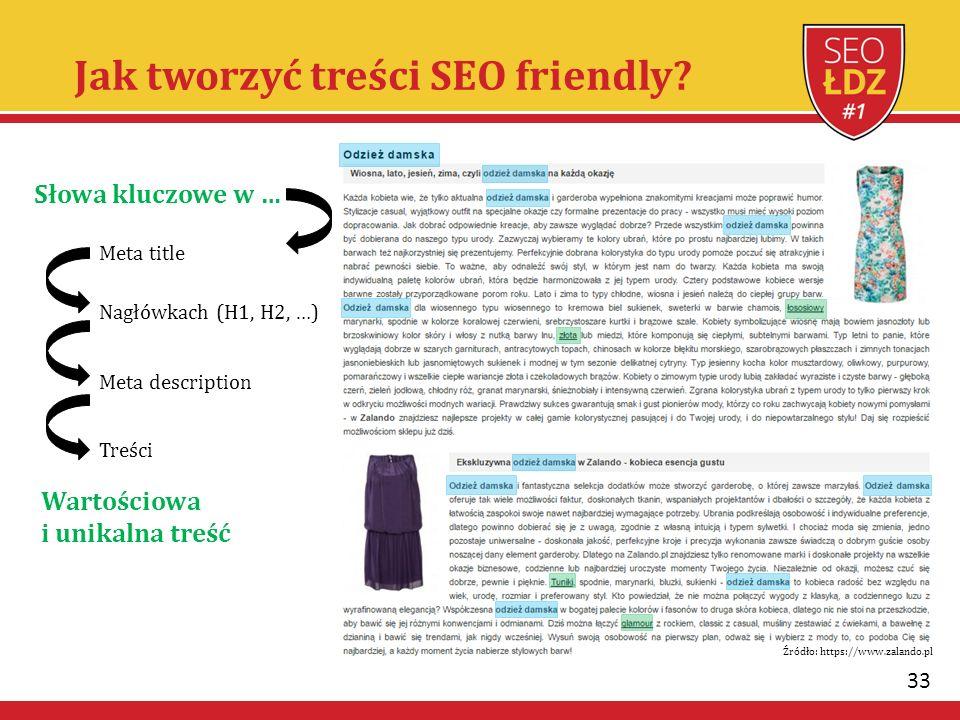 33 Jak tworzyć treści SEO friendly? Słowa kluczowe w … Meta title Nagłówkach (H1, H2, …) Meta description Treści Wartościowa i unikalna treść Źródło: