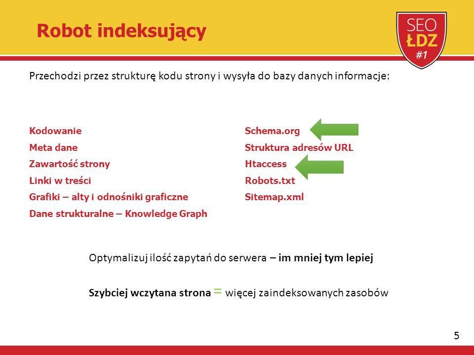 5 Robot indeksujący Przechodzi przez strukturę kodu strony i wysyła do bazy danych informacje: Kodowanie Meta dane Zawartość strony Linki w treści Grafiki – alty i odnośniki graficzne Dane strukturalne – Knowledge Graph Schema.org Struktura adresów URL Htaccess Robots.txt Sitemap.xml Optymalizuj ilość zapytań do serwera – im mniej tym lepiej Szybciej wczytana strona = więcej zaindeksowanych zasobów