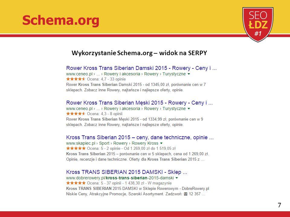 7 Schema.org Wykorzystanie Schema.org – widok na SERPY
