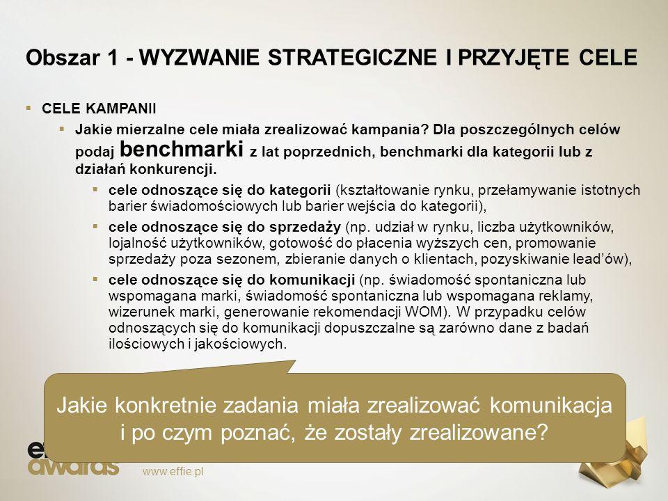 Obszar 1 - WYZWANIE STRATEGICZNE I PRZYJĘTE CELE  CELE KAMPANII  Jakie mierzalne cele miała zrealizować kampania.