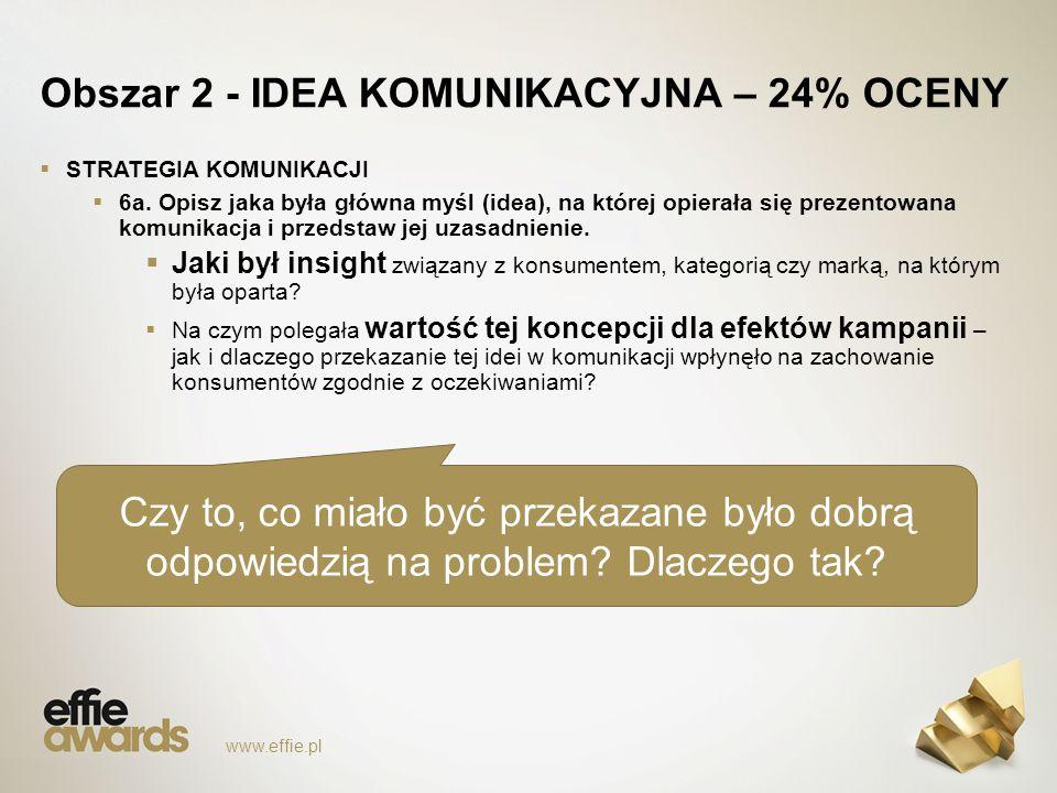 Obszar 2 - IDEA KOMUNIKACYJNA – 24% OCENY  STRATEGIA KOMUNIKACJI  6a.