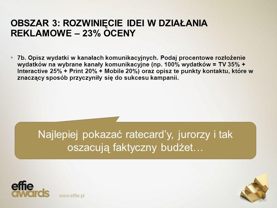 www.effie.pl OBSZAR 3: ROZWINIĘCIE IDEI W DZIAŁANIA REKLAMOWE – 23% OCENY  7b.