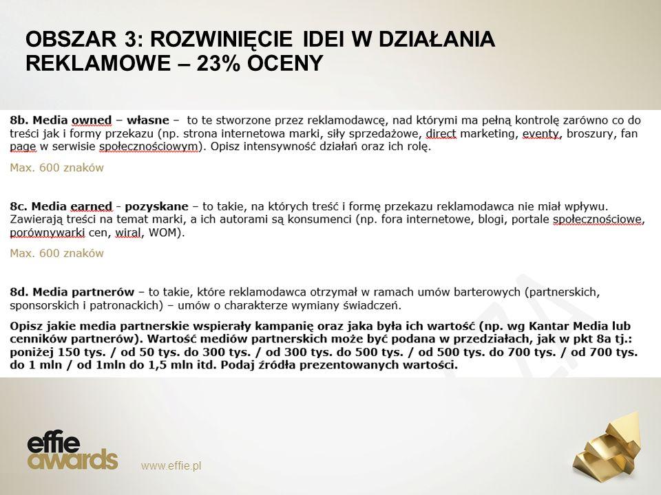 www.effie.pl OBSZAR 3: ROZWINIĘCIE IDEI W DZIAŁANIA REKLAMOWE – 23% OCENY
