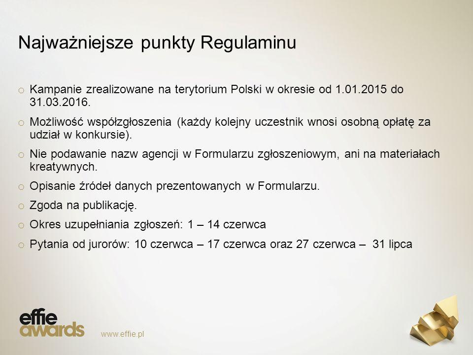 Najważniejsze punkty Regulaminu o Kampanie zrealizowane na terytorium Polski w okresie od 1.01.2015 do 31.03.2016.