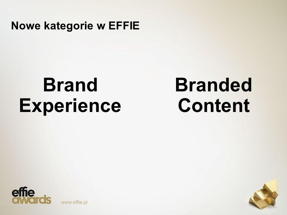 Nowe kategorie w EFFIE Brand Experience www.effie.pl Branded Content