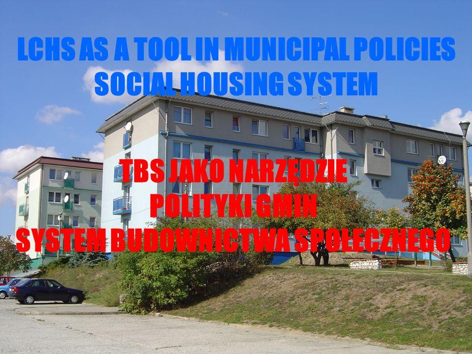 LCHS AS A TOOL IN MUNICIPAL POLICIES SOCIAL HOUSING SYSTEM TBS JAKO NARZĘDZIE POLITYKI GMIN SYSTEM BUDOWNICTWA SPOŁECZNEGO
