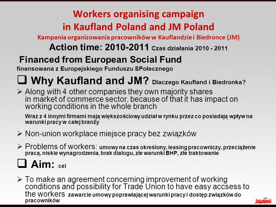 Workers organising campaign in Kaufland Poland and JM Poland Kampania organizowania pracowników w Kauflandzie i Biedronce (JM) Action time: 2010-2011 Czas działania 2010 - 2011 Financed from European Social Fund finansowana z Europejskiego Funduszu SPołecznego  Why Kaufland and JM.