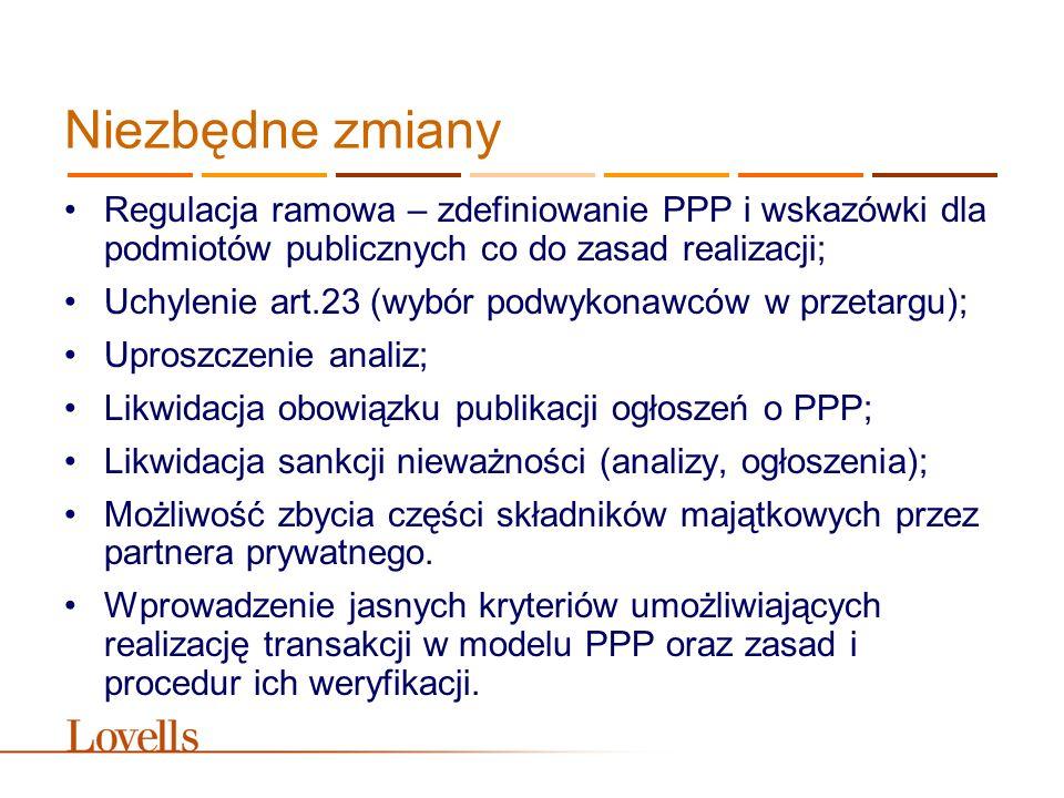 Niezbędne zmiany Regulacja ramowa – zdefiniowanie PPP i wskazówki dla podmiotów publicznych co do zasad realizacji; Uchylenie art.23 (wybór podwykonaw