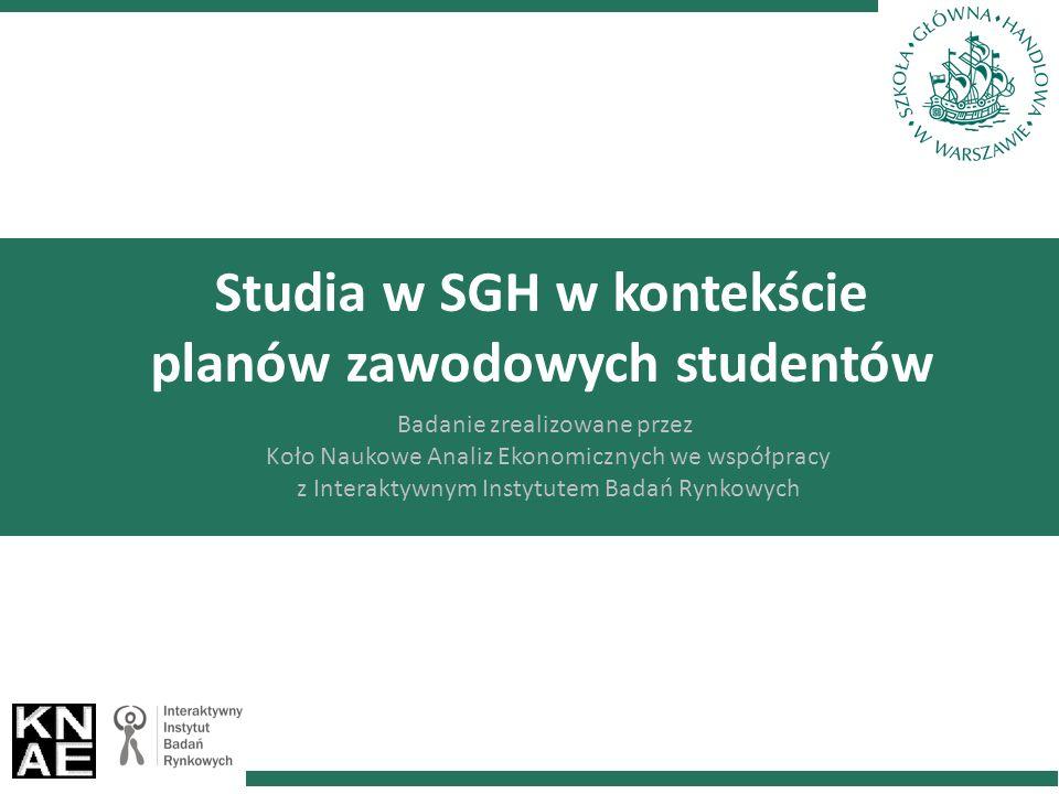 Studia w SGH w kontekście planów zawodowych studentów Badanie zrealizowane przez Koło Naukowe Analiz Ekonomicznych we współpracy z Interaktywnym Instytutem Badań Rynkowych
