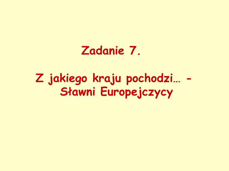 Zadanie 7. Z jakiego kraju pochodzi… - Sławni Europejczycy