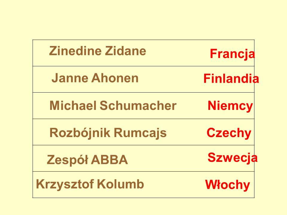 Zinedine Zidane Janne Ahonen Michael Schumacher Rozbójnik Rumcajs Zespół ABBA Krzysztof Kolumb Finlandia Czechy Francja Niemcy Szwecja Włochy