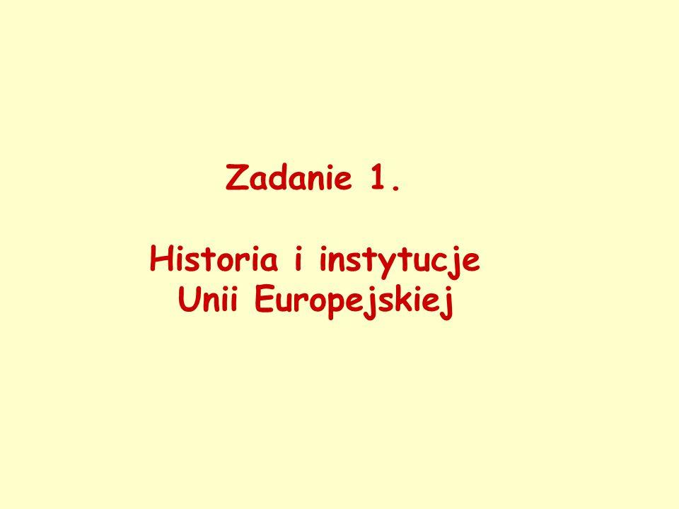 Zadanie 1. Historia i instytucje Unii Europejskiej