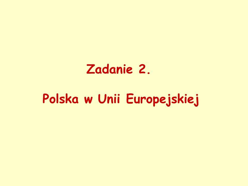 Zadanie 2.Polska w Unii Europejskiej 1. Podajcie datę przystąpienia Polski do Unii Europejskiej.