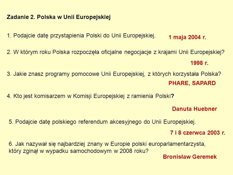 Zadanie 2. Polska w Unii Europejskiej 1. Podajcie datę przystąpienia Polski do Unii Europejskiej.