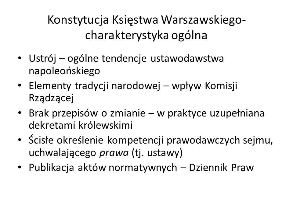 Konstytucja Księstwa Warszawskiego- charakterystyka ogólna Ustrój – ogólne tendencje ustawodawstwa napoleońskiego Elementy tradycji narodowej – wpływ
