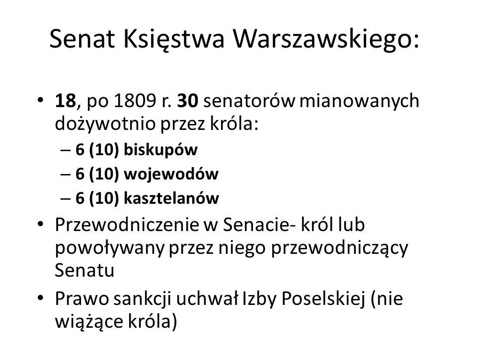 Senat Księstwa Warszawskiego: 18, po 1809 r. 30 senatorów mianowanych dożywotnio przez króla: – 6 (10) biskupów – 6 (10) wojewodów – 6 (10) kasztelanó