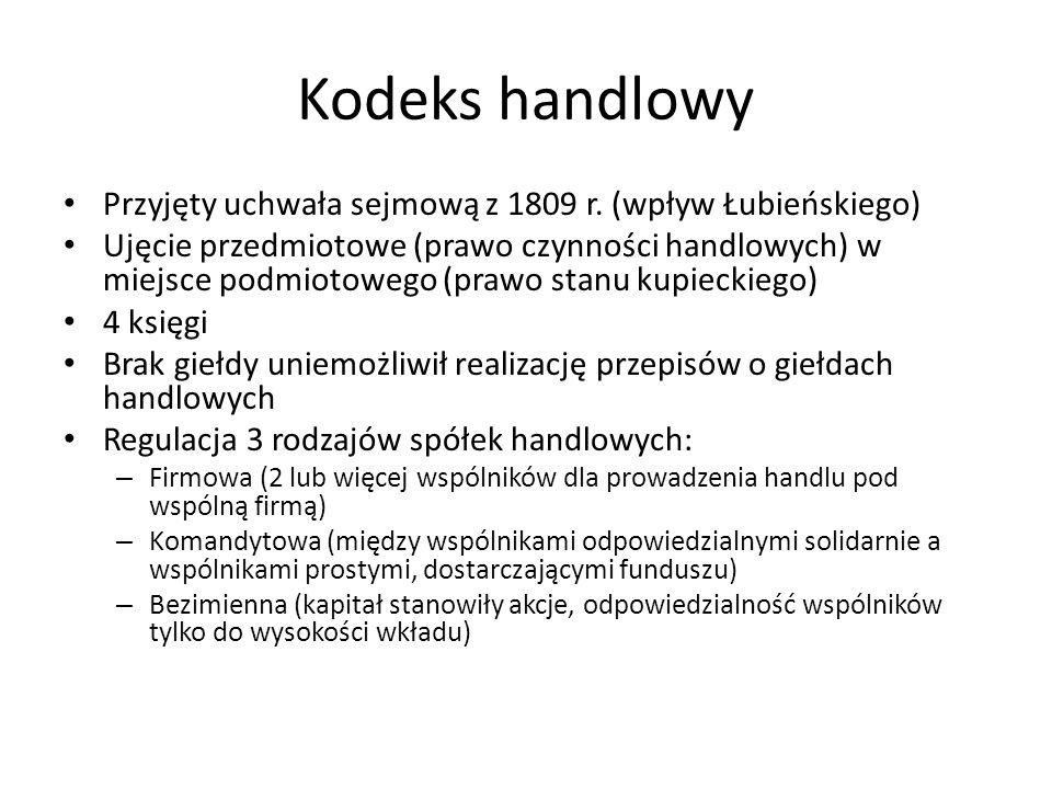 Kodeks handlowy Przyjęty uchwała sejmową z 1809 r. (wpływ Łubieńskiego) Ujęcie przedmiotowe (prawo czynności handlowych) w miejsce podmiotowego (prawo