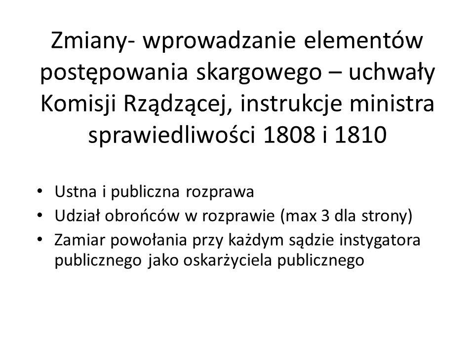 Zmiany- wprowadzanie elementów postępowania skargowego – uchwały Komisji Rządzącej, instrukcje ministra sprawiedliwości 1808 i 1810 Ustna i publiczna