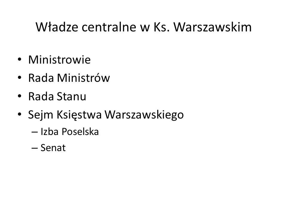 Władze centralne w Ks. Warszawskim Ministrowie Rada Ministrów Rada Stanu Sejm Księstwa Warszawskiego – Izba Poselska – Senat