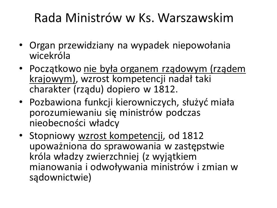 Rada Ministrów w Ks. Warszawskim Organ przewidziany na wypadek niepowołania wicekróla Początkowo nie była organem rządowym (rządem krajowym), wzrost k