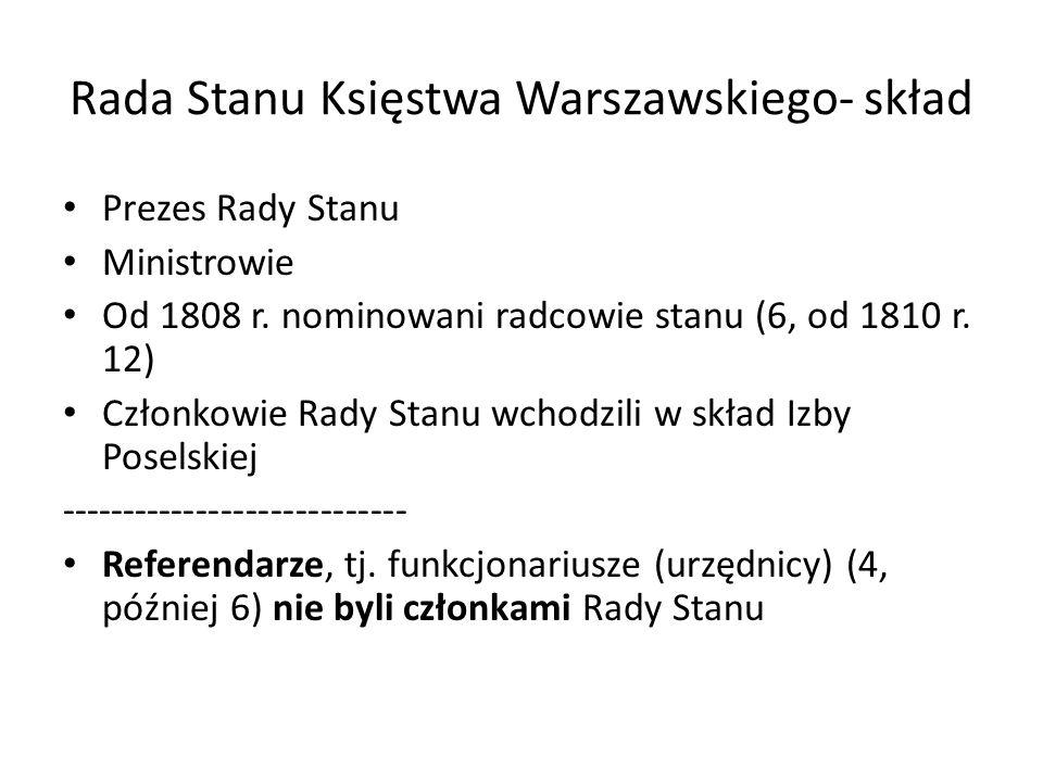 Rada Stanu Księstwa Warszawskiego- skład Prezes Rady Stanu Ministrowie Od 1808 r. nominowani radcowie stanu (6, od 1810 r. 12) Członkowie Rady Stanu w