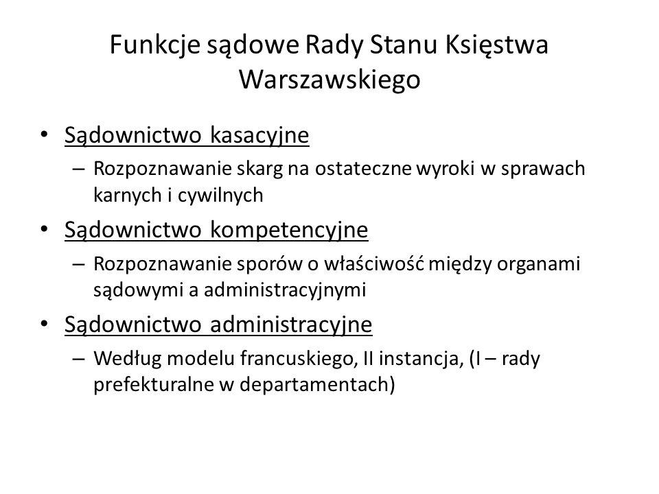 Funkcje sądowe Rady Stanu Księstwa Warszawskiego Sądownictwo kasacyjne – Rozpoznawanie skarg na ostateczne wyroki w sprawach karnych i cywilnych Sądow
