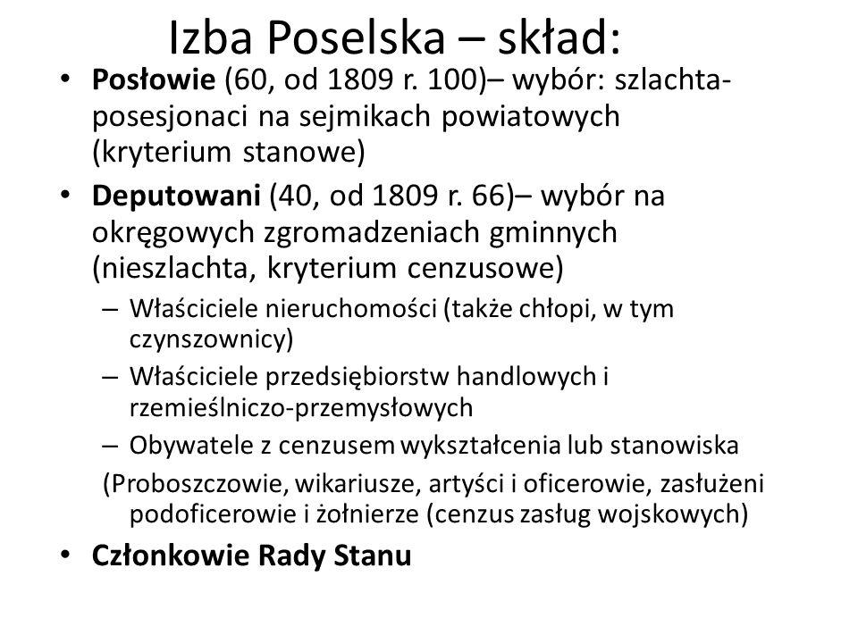 Izba Poselska – skład: Posłowie (60, od 1809 r. 100)– wybór: szlachta- posesjonaci na sejmikach powiatowych (kryterium stanowe) Deputowani (40, od 180