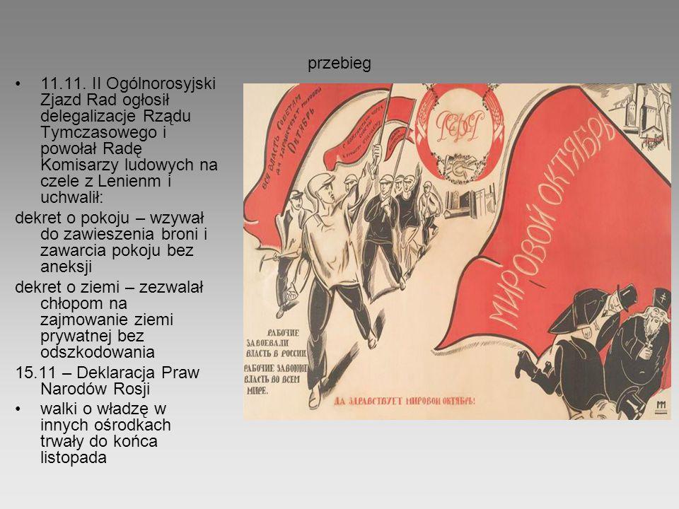 przebieg 11.11. II Ogólnorosyjski Zjazd Rad ogłosił delegalizacje Rządu Tymczasowego i powołał Radę Komisarzy ludowych na czele z Lenienm i uchwalił: