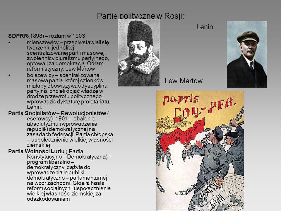 Partie polityczne w Rosji: SDPRR(1898) – rozłam w 1903: mienszewicy – przeciwstawiali się tworzeniu jednolitej scentralizowanej partii masowej, zwolen