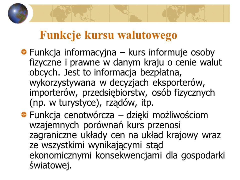 Funkcje kursu walutowego Funkcja informacyjna – kurs informuje osoby fizyczne i prawne w danym kraju o cenie walut obcych. Jest to informacja bezpłatn