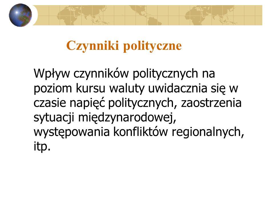 Czynniki polityczne Wpływ czynników politycznych na poziom kursu waluty uwidacznia się w czasie napięć politycznych, zaostrzenia sytuacji międzynarodowej, występowania konfliktów regionalnych, itp.