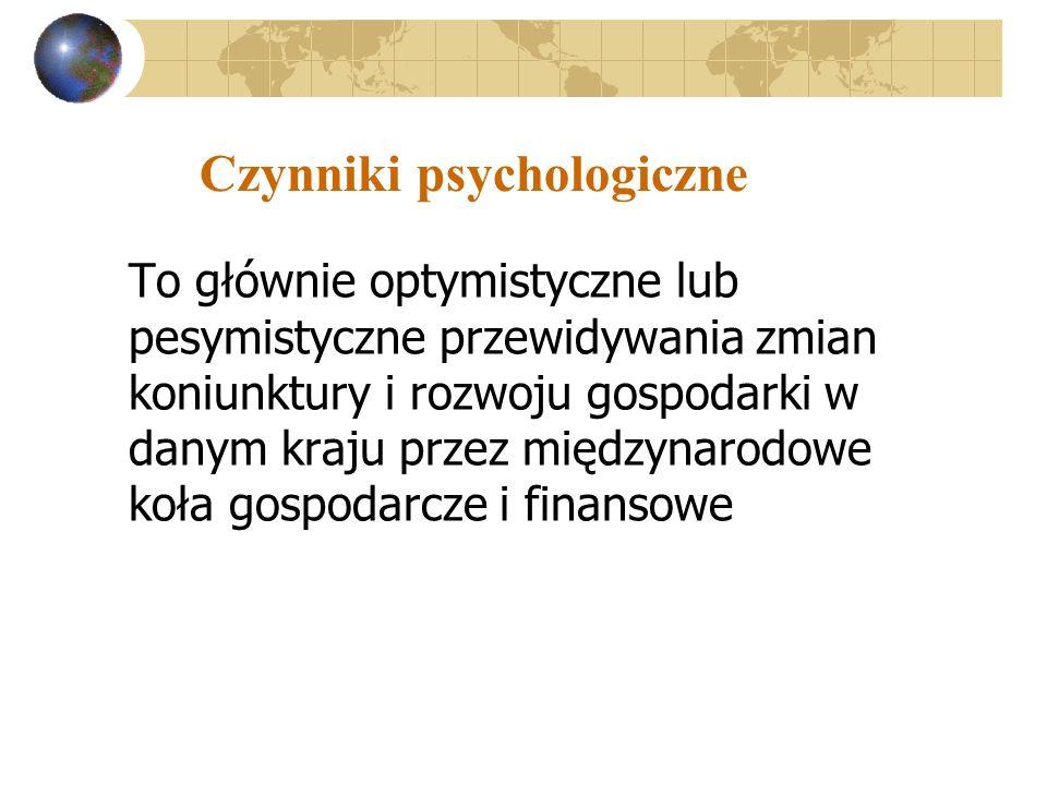 Czynniki psychologiczne To głównie optymistyczne lub pesymistyczne przewidywania zmian koniunktury i rozwoju gospodarki w danym kraju przez międzynarodowe koła gospodarcze i finansowe