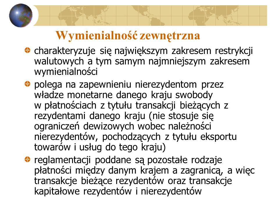 Wymienialność zewnętrzna charakteryzuje się największym zakresem restrykcji walutowych a tym samym najmniejszym zakresem wymienialności polega na zape
