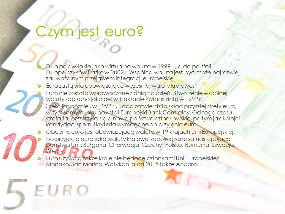 Czym jest euro?  Euro pojawiło się jako wirtualna waluta w 1999 r., a do portfeli Europejczyków trafiło w 2002 r. Wspólna waluta jest być może najłat