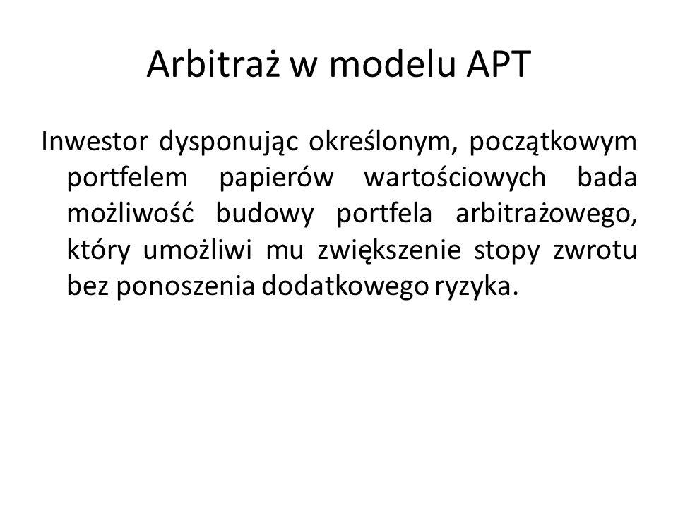 Arbitraż w modelu APT Inwestor dysponując określonym, początkowym portfelem papierów wartościowych bada możliwość budowy portfela arbitrażowego, który umożliwi mu zwiększenie stopy zwrotu bez ponoszenia dodatkowego ryzyka.