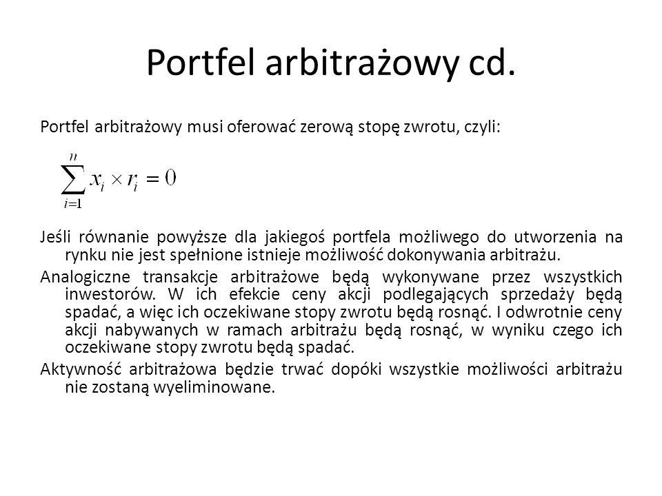 Portfel arbitrażowy cd.