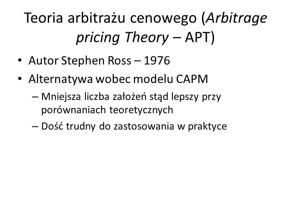 Założenia modelu APT Rynek kapitałowy jest doskonały (doskonała konkurencja, brak kosztów transakcyjnych itp.) – stąd prawo jednej ceny i arbitraż Inwestorzy mają jednolite oczekiwania Liczba aktywów dostępnych na rynku jest bliska nieskończoności Stochastyczny proces generowania stóp zwrotów z aktywów można opisać liniową funkcją X czynników ryzyka.