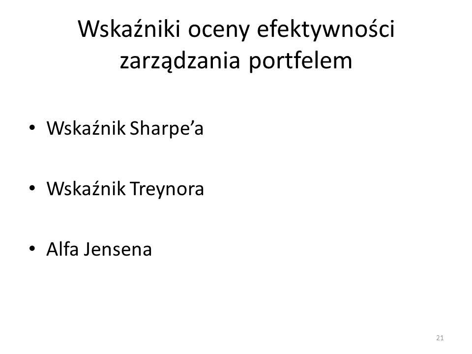 21 Wskaźniki oceny efektywności zarządzania portfelem Wskaźnik Sharpe'a Wskaźnik Treynora Alfa Jensena