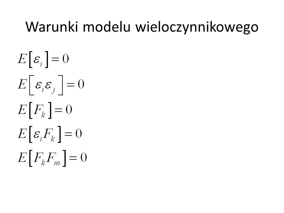 Wartość oczekiwana ryzyka specyficznego jest równa zero Ryzyka specyficzne różnych aktywów są nieskorelowane Ryzyko specyficznego i-go aktywa jest nieskorelowane z czynnikami modelu Czynniki modelu są nieskorelowane