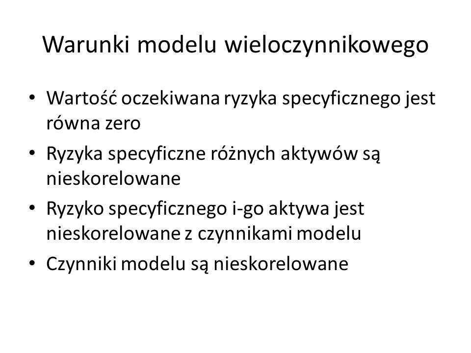 Interpretacja modelu wieloczynnikowego Stopa zwrotu z akcji (portfela) zależy w liniowy sposób od stóp zwrotu pewnych czynników Model nie określa jakie to są czynniki Czynniki powinny mieć wpływ na stopy zwrotu z akcji O sile zależności decyduje decydują wartości współczynników wrażliwości Model wieloczynnikowy można traktować jako uogólnienie modelu jednoczynnikowego Sharpe'a