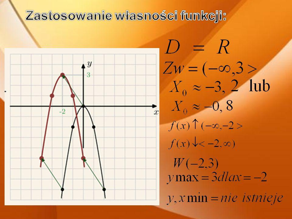 a>0 – funkcja posiada minimum a<0 – funkcja posiada maksimum