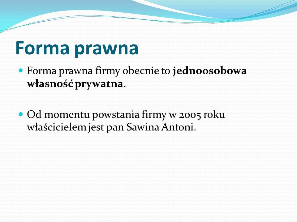 Forma prawna Forma prawna firmy obecnie to jednoosobowa własność prywatna. Od momentu powstania firmy w 2005 roku właścicielem jest pan Sawina Antoni.
