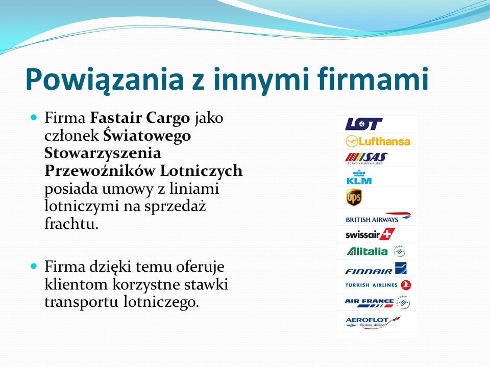 Powiązania z innymi firmami Firma Fastair Cargo jako członek Światowego Stowarzyszenia Przewoźników Lotniczych posiada umowy z liniami lotniczymi na sprzedaż frachtu.