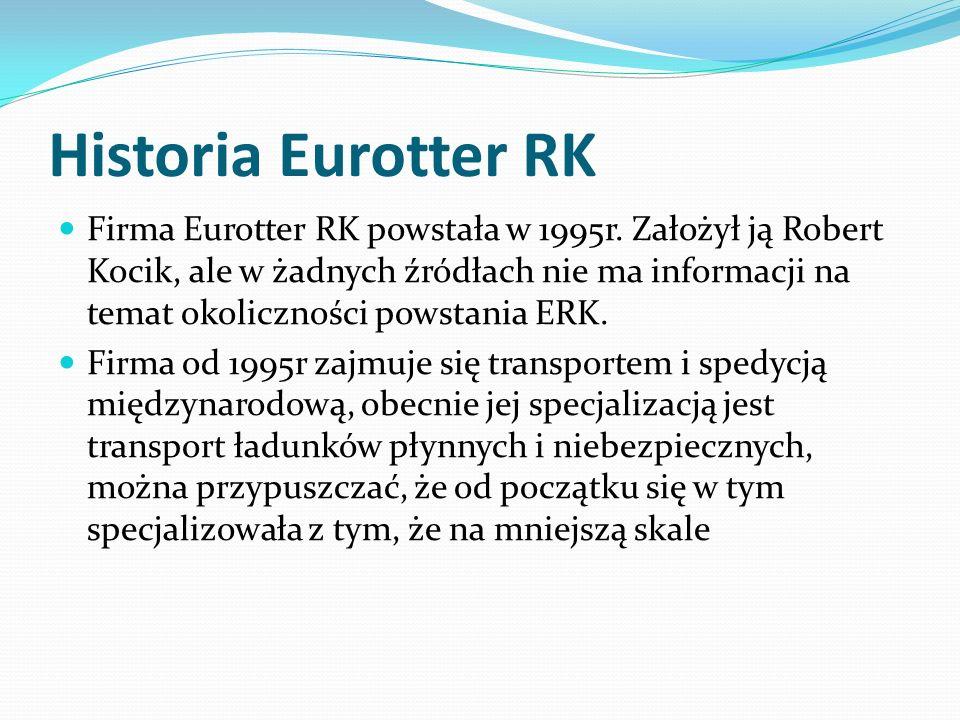Historia Eurotter RK Firma Eurotter RK powstała w 1995r. Założył ją Robert Kocik, ale w żadnych źródłach nie ma informacji na temat okoliczności powst