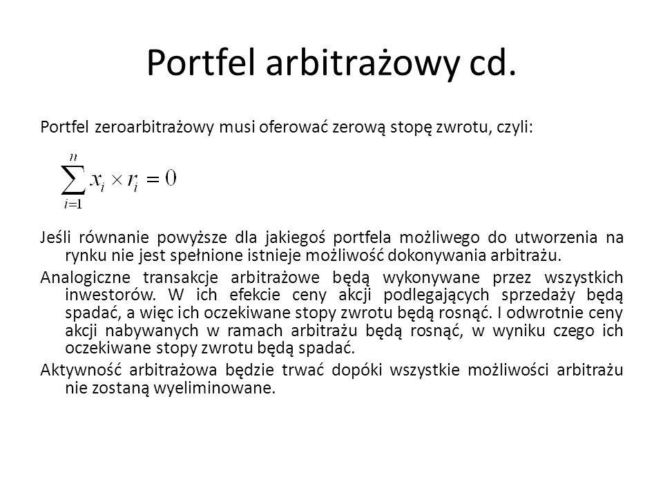 Portfel arbitrażowy cd. Portfel zeroarbitrażowy musi oferować zerową stopę zwrotu, czyli: Jeśli równanie powyższe dla jakiegoś portfela możliwego do u