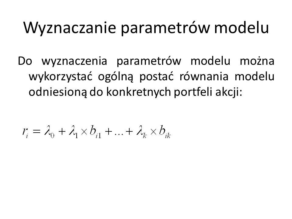 Wyznaczanie parametrów modelu Do wyznaczenia parametrów modelu można wykorzystać ogólną postać równania modelu odniesioną do konkretnych portfeli akcj