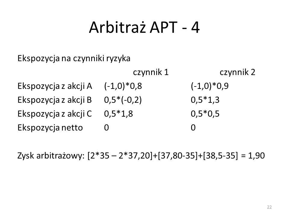 Arbitraż APT - 4 Ekspozycja na czynniki ryzyka czynnik 1czynnik 2 Ekspozycja z akcji A(-1,0)*0,8(-1,0)*0,9 Ekspozycja z akcji B0,5*(-0,2)0,5*1,3 Ekspo