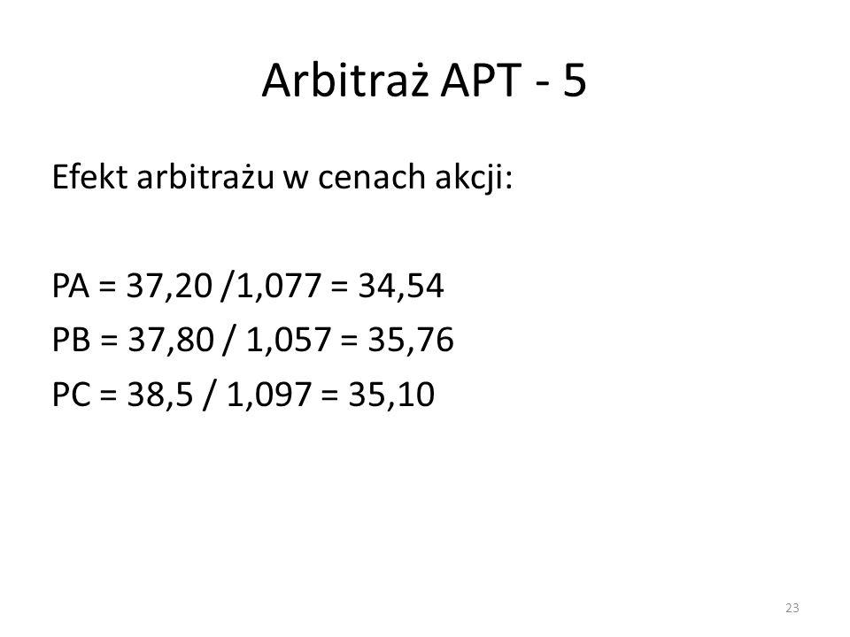 Arbitraż APT - 5 Efekt arbitrażu w cenach akcji: PA = 37,20 /1,077 = 34,54 PB = 37,80 / 1,057 = 35,76 PC = 38,5 / 1,097 = 35,10 23