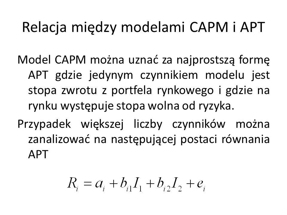 Relacja między modelami CAPM i APT Model CAPM można uznać za najprostszą formę APT gdzie jedynym czynnikiem modelu jest stopa zwrotu z portfela rynkow