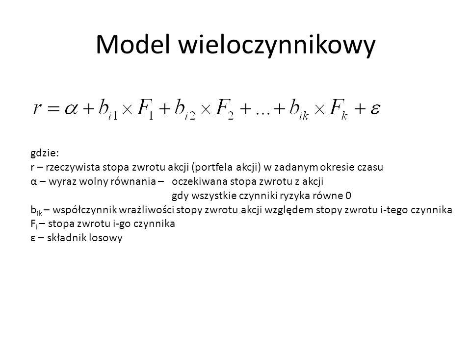 Model wieloczynnikowy gdzie: r – rzeczywista stopa zwrotu akcji (portfela akcji) w zadanym okresie czasu α – wyraz wolny równania – oczekiwana stopa z